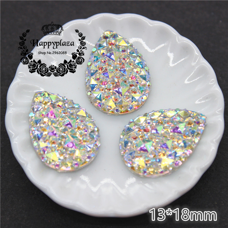 50pcs 13*18mm Bling Clear White AB Resin Rhinestone Teardrop Flatback Cabochon Stone DIY Wedding Decoration Crafts