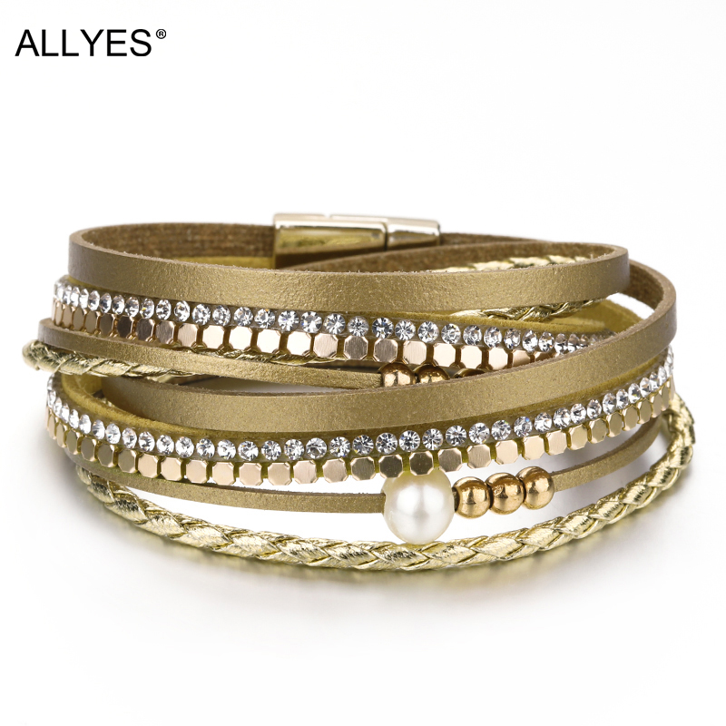 Us 3 83 45 Off Allyes Leather Bracelet Woman Boho Pearl Crystal Metal Beads Braided Rope Wide Multilayer Wrap Bracelets For Women Jewelry In