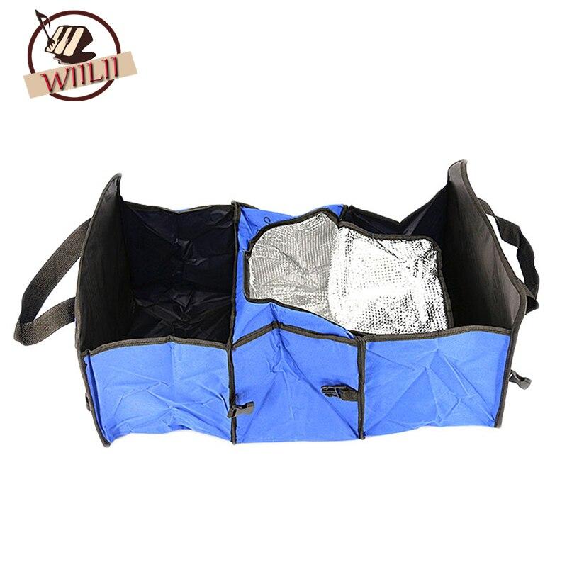 Foldable Multi Compartment Fabric Car Storage Basket Trunk Organizer Cooler Set Car Trunk Organizer