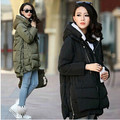 Free shipping 2016 new women Europe style fashion loose medium long autumn winter plus size down parkas lady down coat wholesale