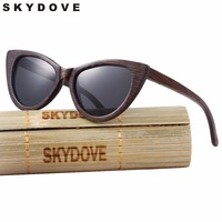 SKYDOVE Cat Eye Bamboo Sunglasses Polarized Vintage Black sun glasses wood woman 2018 Outdoor Butterfly woman sunglasses wooden