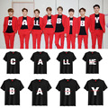 Kpop EXO 2016 éxodo LLAMARME BEBÉ camisa de manga corta negro DO k-pop EXO tops Conjuntos de ropa de algodón de verano k pop bts Tees Camisetas
