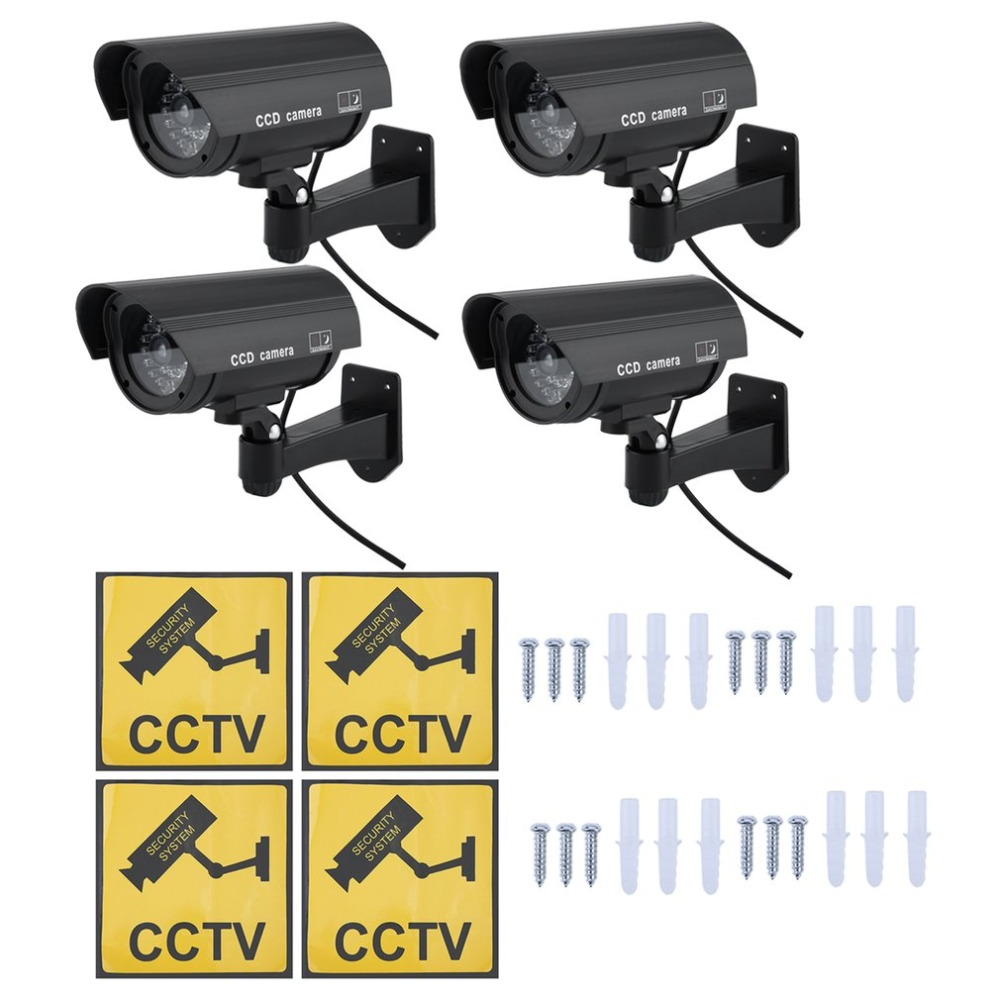4PCS Waterproof Fake CCTV Camera Monitor Outdoor Indoor Home Security Dummy Simulation Surveillance Camera for Security HA-WEA074PCS Waterproof Fake CCTV Camera Monitor Outdoor Indoor Home Security Dummy Simulation Surveillance Camera for Security HA-WEA07