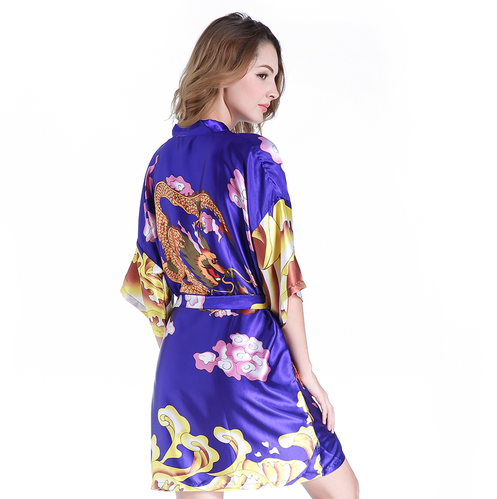 Animal Printed Female Kimono Geisha Bath Robe Women Royal Blue Satin Nightwear Summer New Mini Sleepwear With Dragon One Size