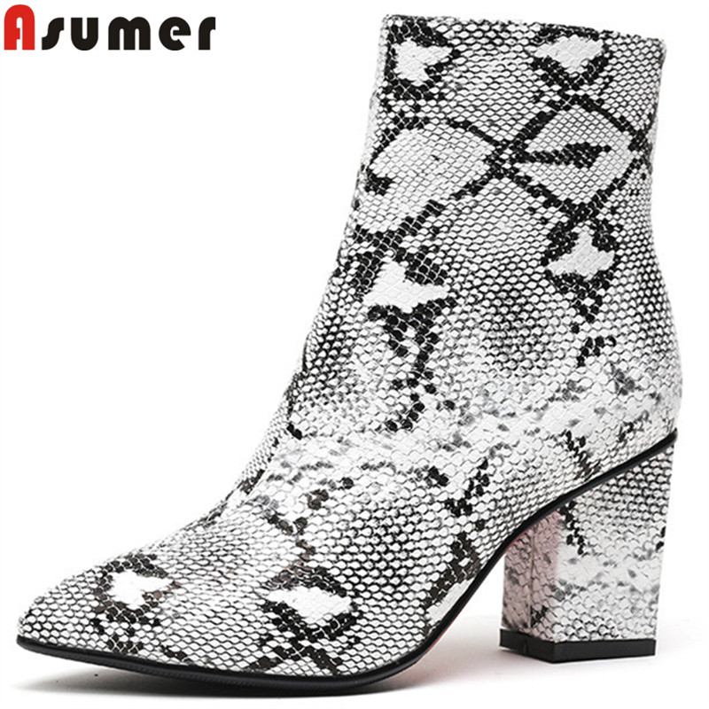 ASUMER big size 34-42 fashion ankle boots for women pointed toe zip thick high heels ladies boots elegant autumn winter boots asumer big size fashion ankle boots women pointed toe zip suede leather boots embroider high heels shoes autumn winter boots