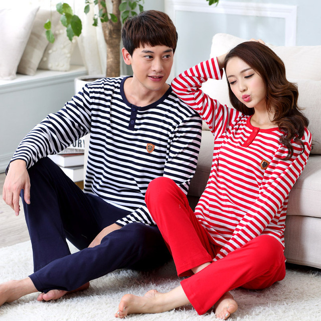 2016 lovers pajamas men and women fall embroidered stripe Home wear 100% cotton pajamas sleepwear set