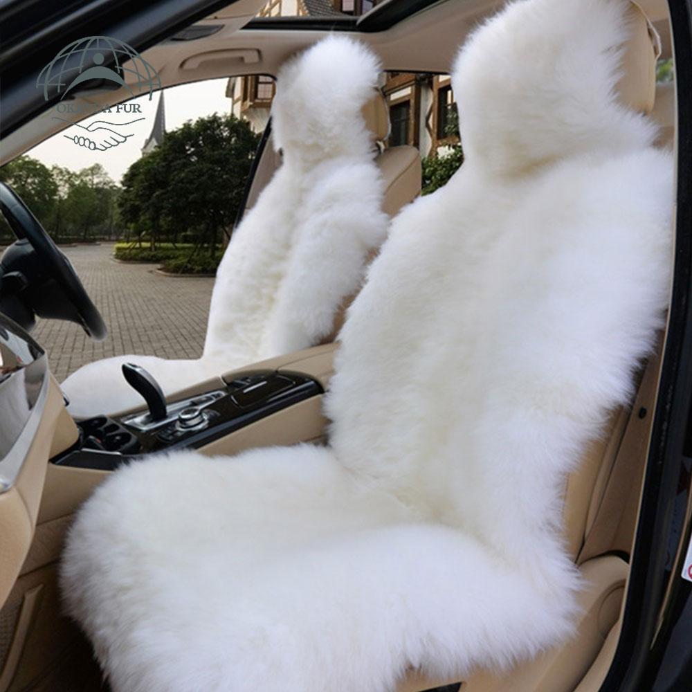 OKAYDA RU 100% təbii xəz Avstraliya palto avtomobil oturacağı - Avtomobil daxili aksesuarları - Fotoqrafiya 3