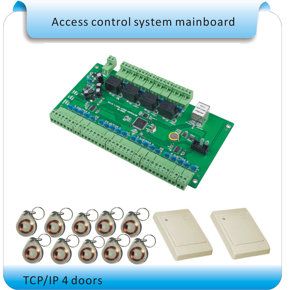 TCP/IP communication 4 entrance gate control /RFID Four door access control systems +4 EM reader +10pcs EM card English software biometric face and fingerprint access controller tcp ip zk multibio700 facial time attendance and door security control system