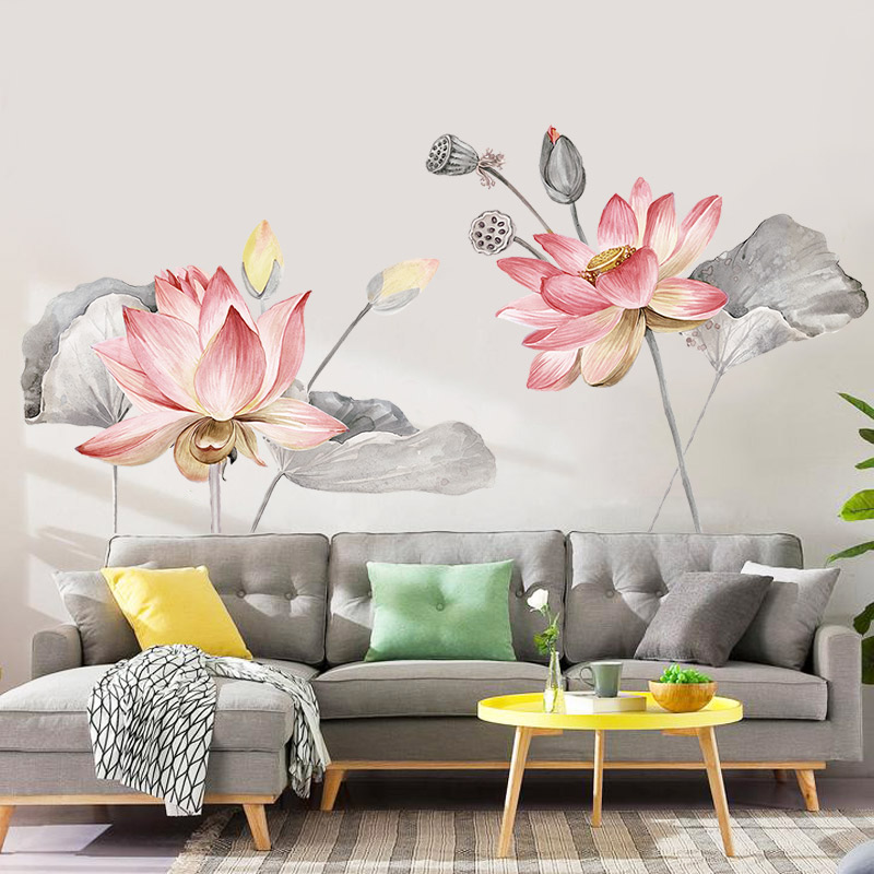 Aliexpress Buy Chinese Style Lotus Flower Vinyl Wall