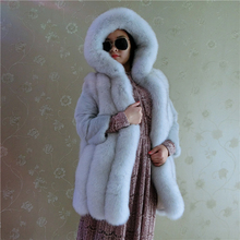 White Fox Fur Vest Fashion Trendy Hooded Natural Fur Coat Female Jacket For Women Thick Warm Real Fur Winter Women Coat Overcoat
