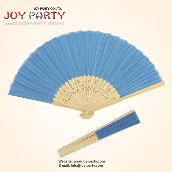 10 개 / 많은 21cm 블루 컬러 실크 핸드 팬, 패브릭 팬, 중국 공예 팬, 웨딩 파티 DIY 호의
