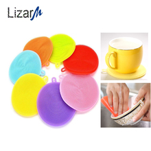 1pc Multifunction Dish Bowl Cleaning Brush silicone scouring sponge for dishes cleaner brushes Kitchen accessories Washing Tool