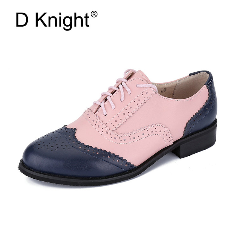 High-Quality-fashion-Brand-Design-Genuine-leather-Color-matching-vintage-oxford-shoes-for-women-Bullock-shoes