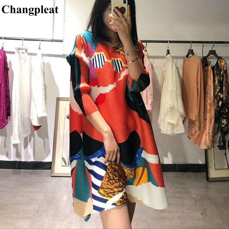 Changpleat 2019 primavera nuevas camisetas estampadas para mujeres Miyak plisado moda cuello redondo suelto tamaño grande mujer Camiseta larga Tide T9