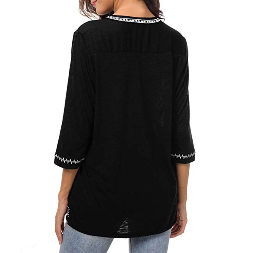 Women's Boho Trim V-Neck T-Shirt 2