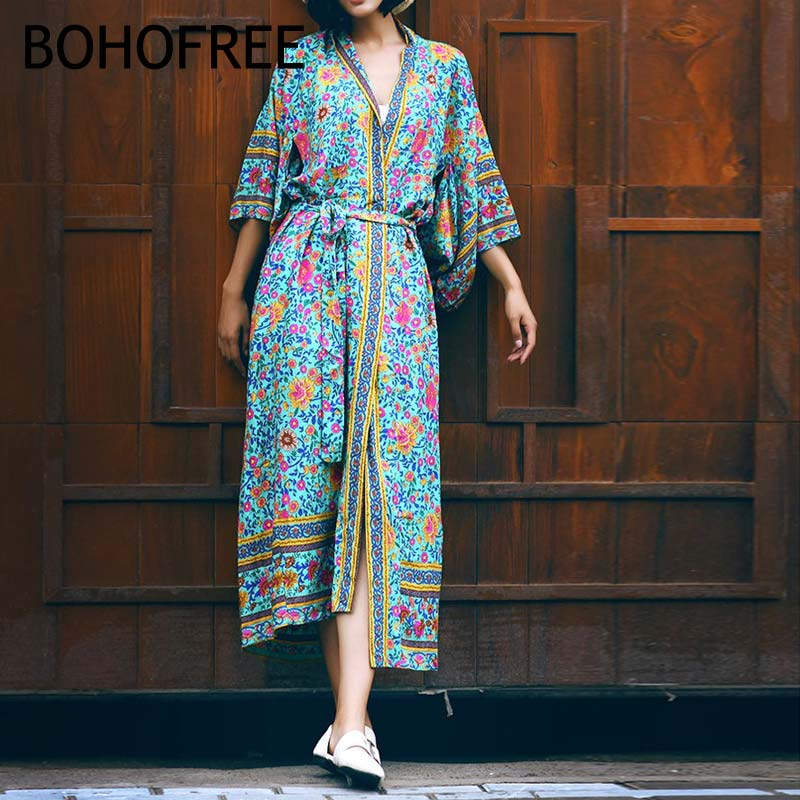 Bohofree Oversize New Women Floral Chiffon Long Kimono Cardigans Loose Holiday Beach Robe Dress Mujer Boho Outerwear Vestidos Superior In Quality