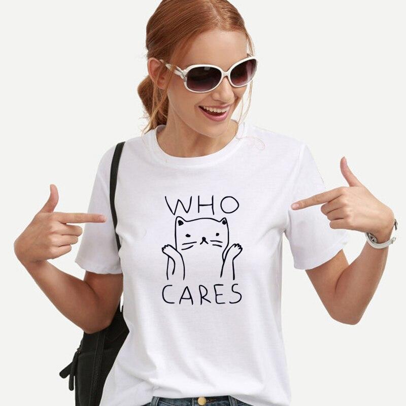 OLN Cat Graphic Tees Women Funny T shirts Women 2018 Summer Vintage Tee Shirt Femme Kawaii Black White Tshirts Cotton Women Top