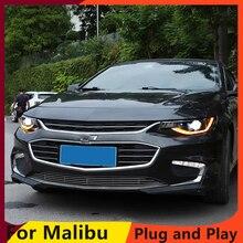 تصفيف السيارة ل ماليبو المصابيح الأمامية 2016 2018 ماليبو LED العلوي LED DRL ديناميكية بدوره إشارة ثنائية زينون HID اكسسوارات
