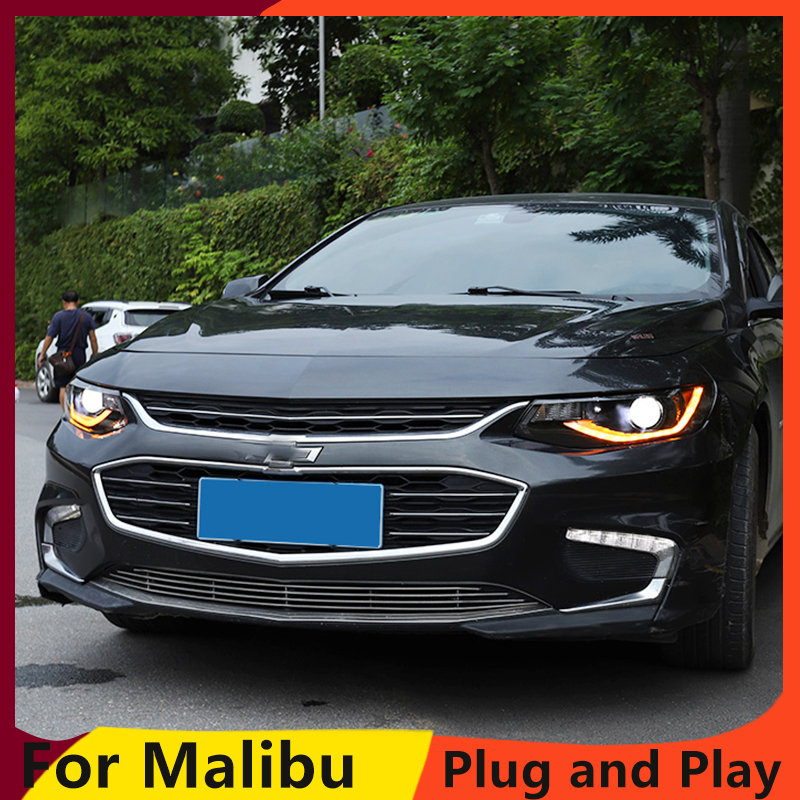 Car Styling For Malibu Headlights 2016 2018 Malibu LED Headlight LED DRL dynamic turn signal  Bi Xenon HID Accessories-in Car Light Assembly from Automobiles & Motorcycles
