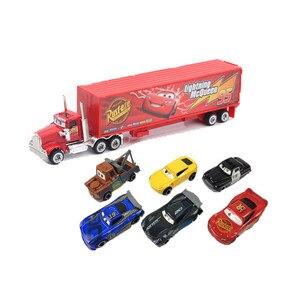 Image 4 - New 7 Piece / Set Disney Pixar Car 3 Lightning McQueen Jackson Storm Material Mack Uncle Truck 1:55 Die Casting Metal Car Model