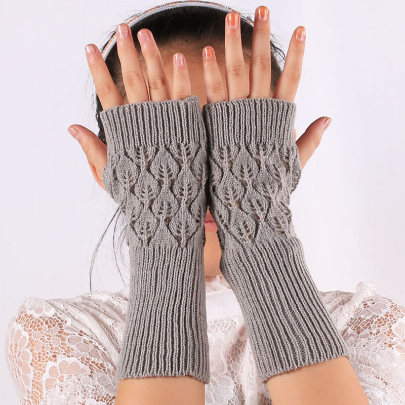 Fashion Unisex Women Ladies Fingerless Gloves Warm Knitted Winter Hollow Long Section Sleeves
