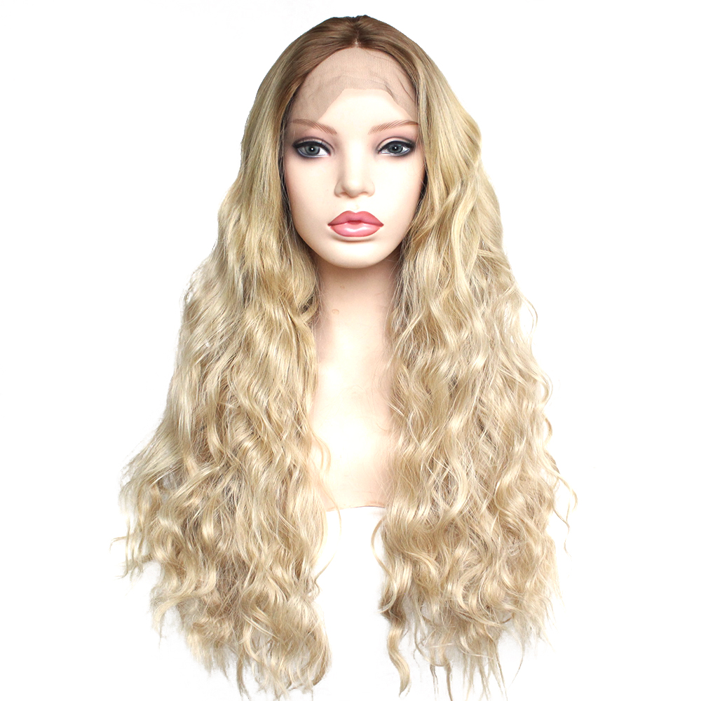 Brown Ombre Blonde Glueless Synthetic Lace Front Wig High Temperature Fiber Middle Part Long Natural Wave