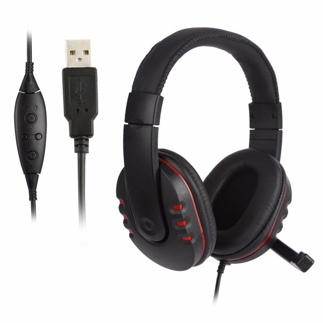 ONLENY Adjustable USB 2M Wired Stereo Bass Headphone Headset With Microphone