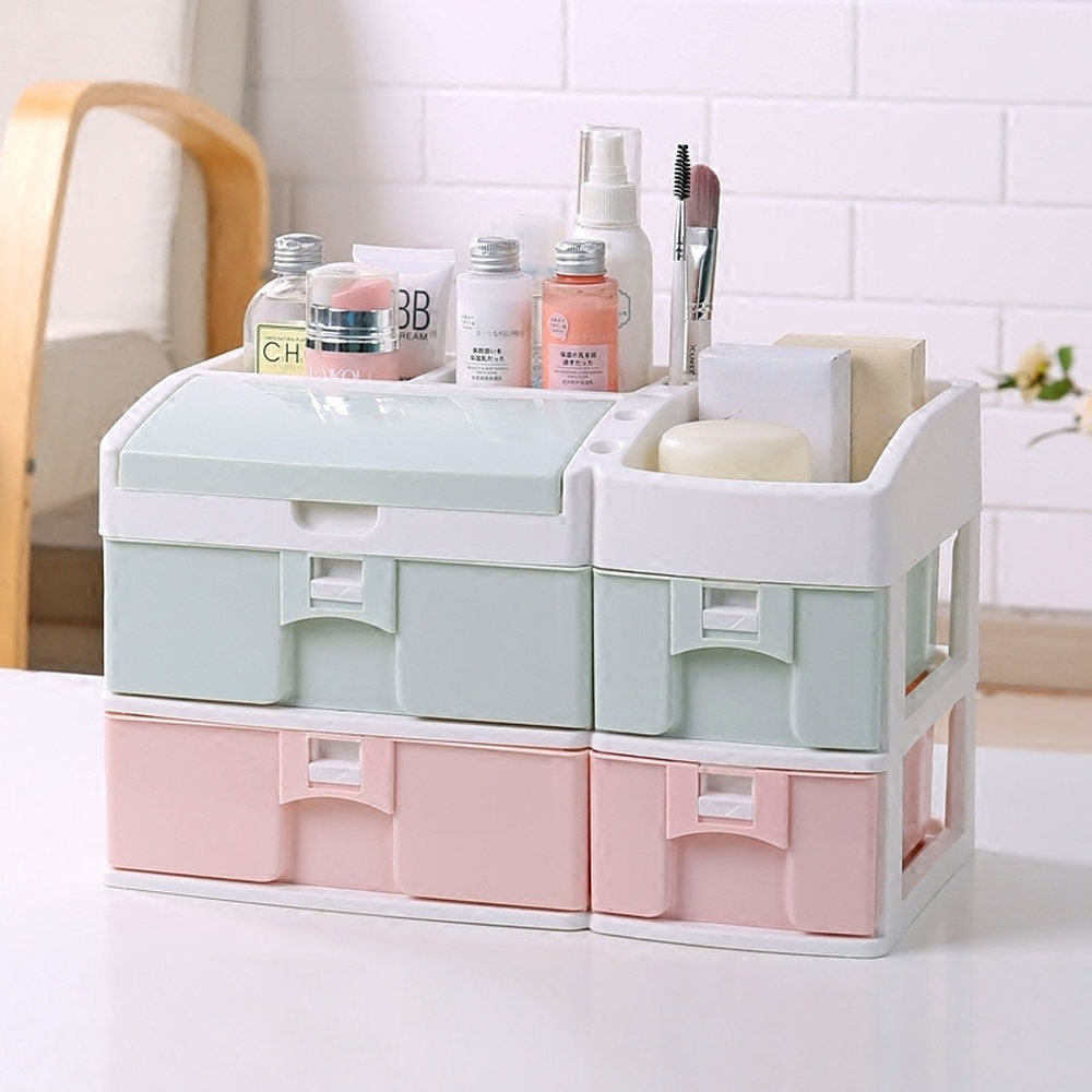 Drawer type cosmetics storage box deskto