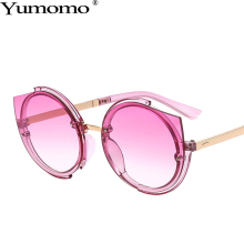 Yumomo Round Sunglasses Women Vintage Fashion Purple Blue Metal Gradient Color Mirror Feminino Oculus UV400 De Sol Sun Glasses