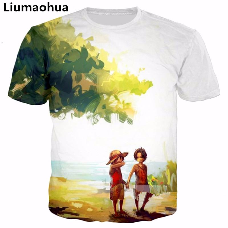 T-shirts Men's Clothing Professional Sale Liumaohua Summer Harajuku Style 3d T-shirt Anime One Piece Monkey D Luffy/portgas D Ace Print Men Women Casual Fashion T Shirt Curing Cough And Facilitating Expectoration And Relieving Hoarseness