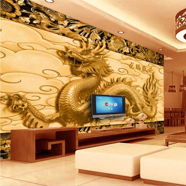 beibehang Custom 3d wallpaper relief dragon wall paper living room ...
