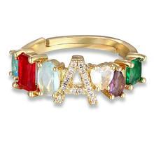Персонализированное регулируемое кольцо A-Z, богемное медное кольцо с цирконием радуги, кольца с буквами для женщин, вечерние свадебные украшения, подарок