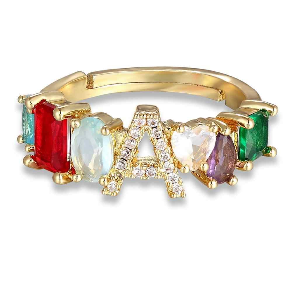 ส่วนบุคคลปรับ A-Z เริ่มต้นแหวน Bohemian ทองแดง Zircon Rainbow Letter แหวนสำหรับผู้หญิงงานแต่งงานเครื่องประดับของขวัญ