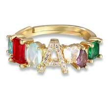 Personalisierte Einstellbare A-Z Initial Ring Böhmischen Kupfer Zirkon Regenbogen Brief Ringe für Frauen Mädchen Party Hochzeit Schmuck Geschenk