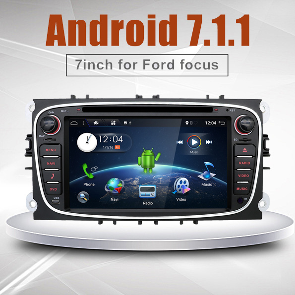 Double 2 Din Android 7.1 1024*600 Quad Core Car DVD Player GPS Navi WIFI For Ford Focus Mondeo 3G Audio Radio Stereo Head Unit