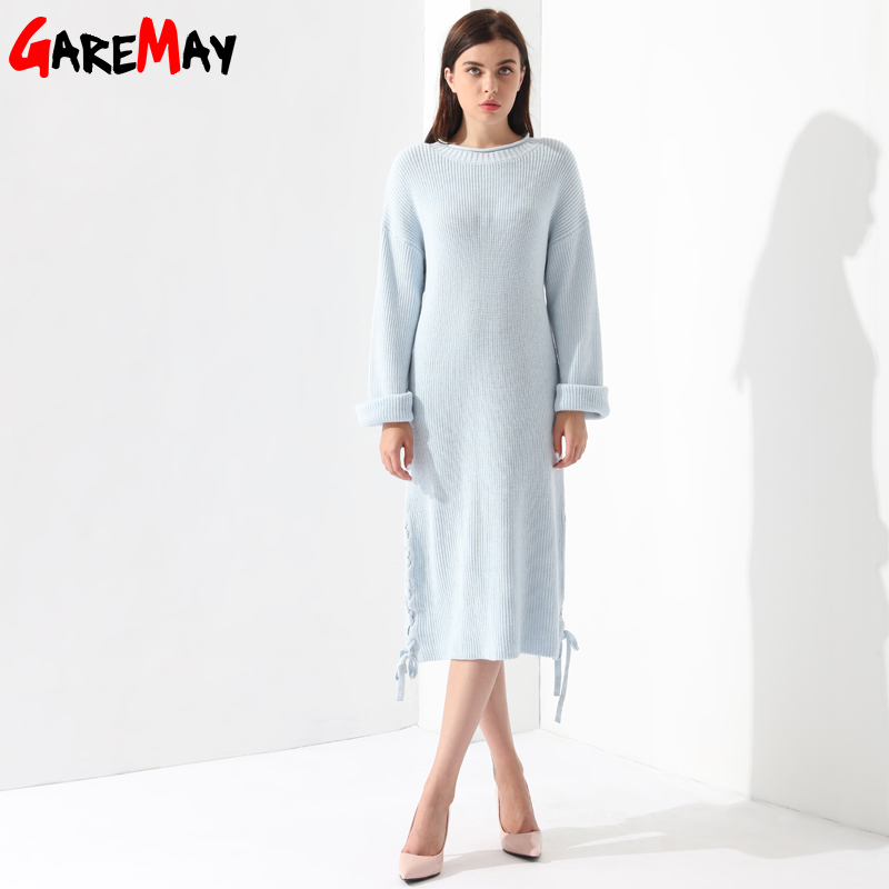 Gaun Sweater panjang, Wanita Pullover longgar rajutan lengan panjang - Pakaian Wanita - Foto 4