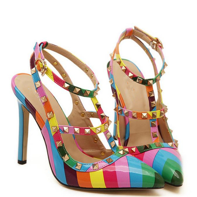 97e3b7fd8f9f 2017 Women summer sexy elegant rivets panelled rainbow mixed colors pointed  closed toe thin high heels sandals shoes woman F38