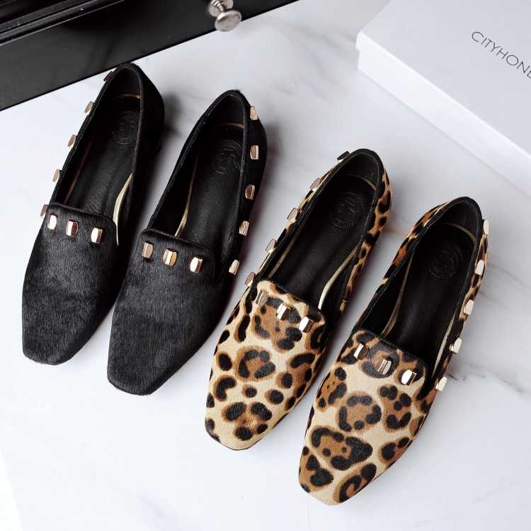 ФОТО 2017 Fashion Women Shoes Leopard PU Leather Ballet Flats Casual Sequined Square Toe Shoes Woman For Summer S3505