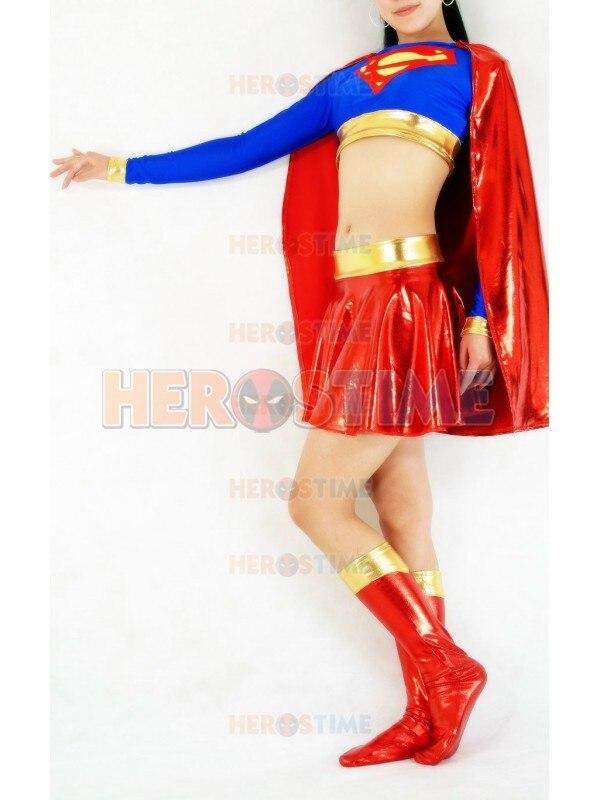 Klassiek rood en blauw Supergirl kostuum spandex & glanzend metallic - Carnavalskostuums - Foto 5