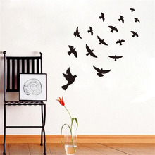 DCTOP Diy Black Flying Birds Vinyl Wall sticker For Kids Rooms Bedroom Decals Poster Wallpaper Wall Arts Classical Bird Stickers цена