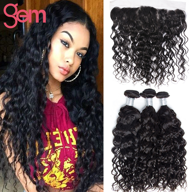 13x4 Ear to Ear Lace Frontal Closure with Hair Bundles 7A Peruvian Virgin Hair Water Wave with Closure Wet Wavy Curly Human Hair