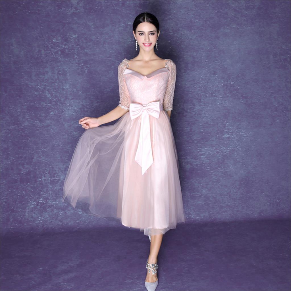 Bonito Vestido De Cóctel De Color Rosa Claro Ideas Ornamento ...