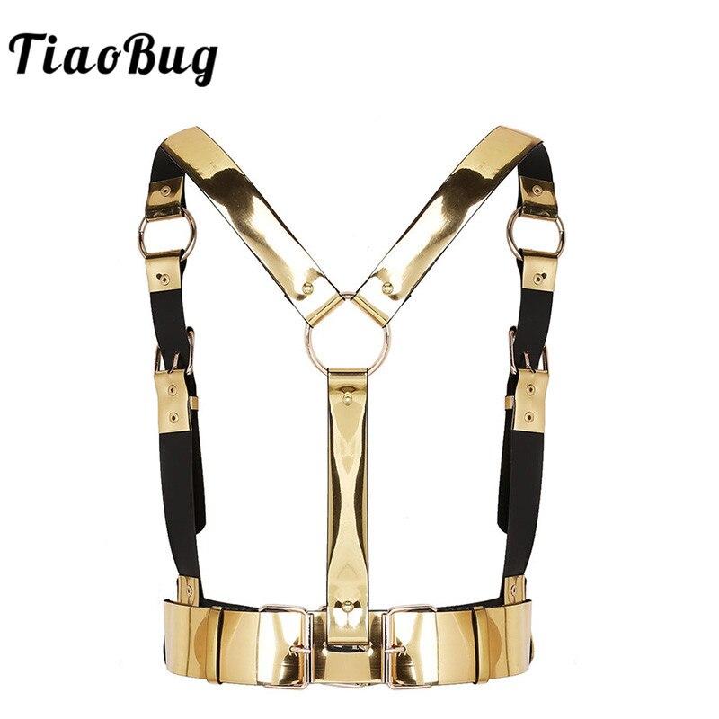 TiaoBug Fashion Gold Unisex Punk Faux Leather Women Men Body Chest Harness Waist Bondage Belt Club Wear Sexy Rave Party Belt Top