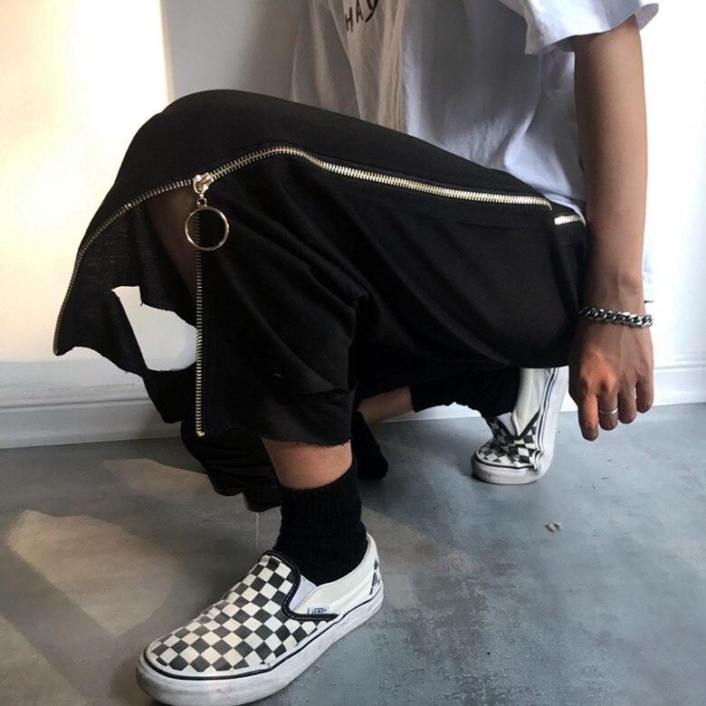 Ancha Dj Otoño Traje Nueve Hombre Negro Cantante Moda Pierna Cremallera 2019 Hombres Hueco Club De Pantalones Harajuku Corta HqA7wz7x
