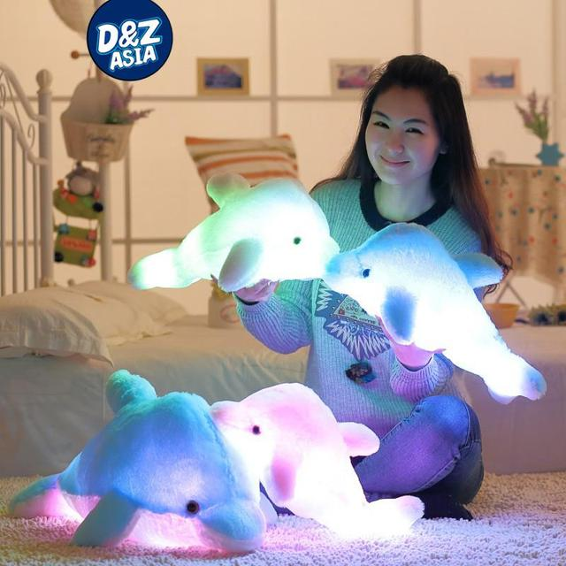 Luminous pillow Led Light Pillow plush Pillow Colorful dolphin plush Christmas Toy for kids birthday Valentine's Day gift
