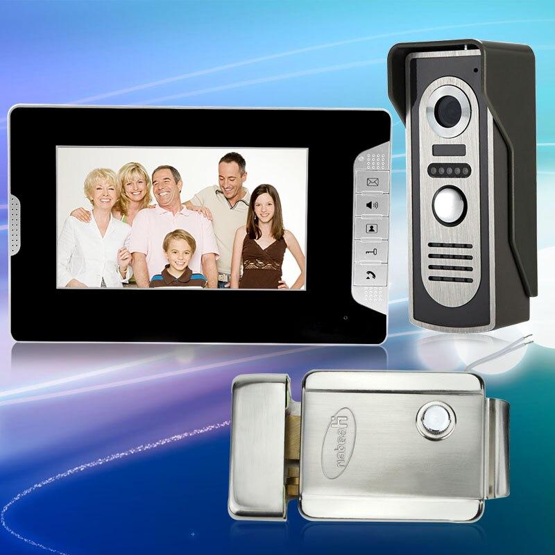 Цвет видео телефон двери 7 дюймов домофон Системы с электрическим Управление замок + ИК Открытый Камера с Ночное видение для дома сигнал тре