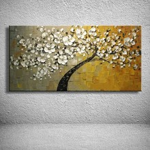 100% Hand Painted Modern Flowers Oil Paintings On Canvas Abstract Wall Art Knife Tree Home Dicoration For Living Roon Pictures