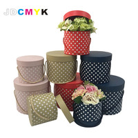 Dot Point Round Flowers Gift Box Flower Box 3pcs Set Include L M S Size 4