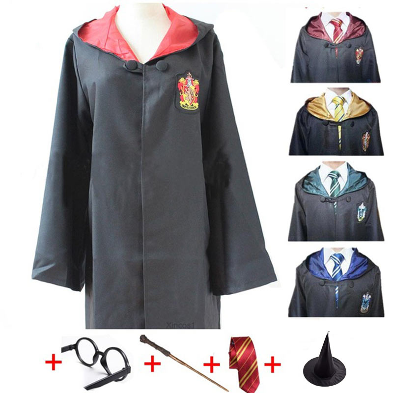 Cosplay Costumes For Harry Potter Robe Cape With Tie Wand Glasses Harri Potter Cloak Gryffindor Halloween Party Cos Clothing Kid