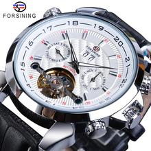Forsining White Tourbillon Mechanical Men Watches Automatic Calendar Skeleton Genuine Leather Belts Wristwatch Relogio Masculino